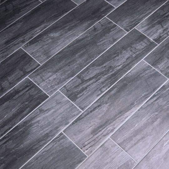 rustic wood effect dark grey floor tile