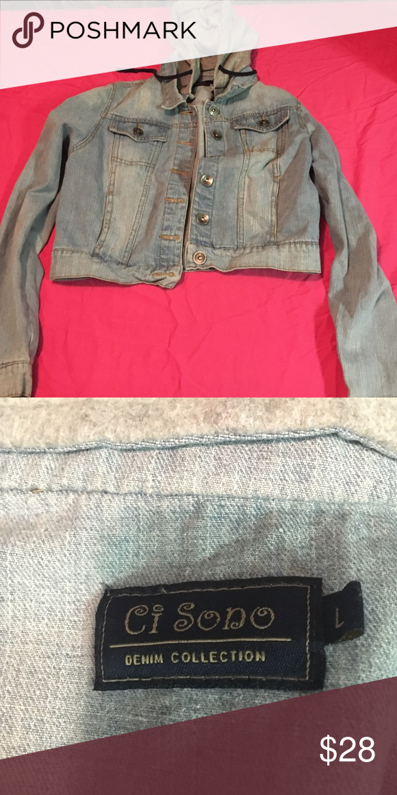 Denim half jacket Half, denim jacket, has a hood! It says size Large but fits more like a medium!! Looks very nice with joggers!! Great condition, no rips or stains!! Ci sono Jackets & Coats Jean Jackets