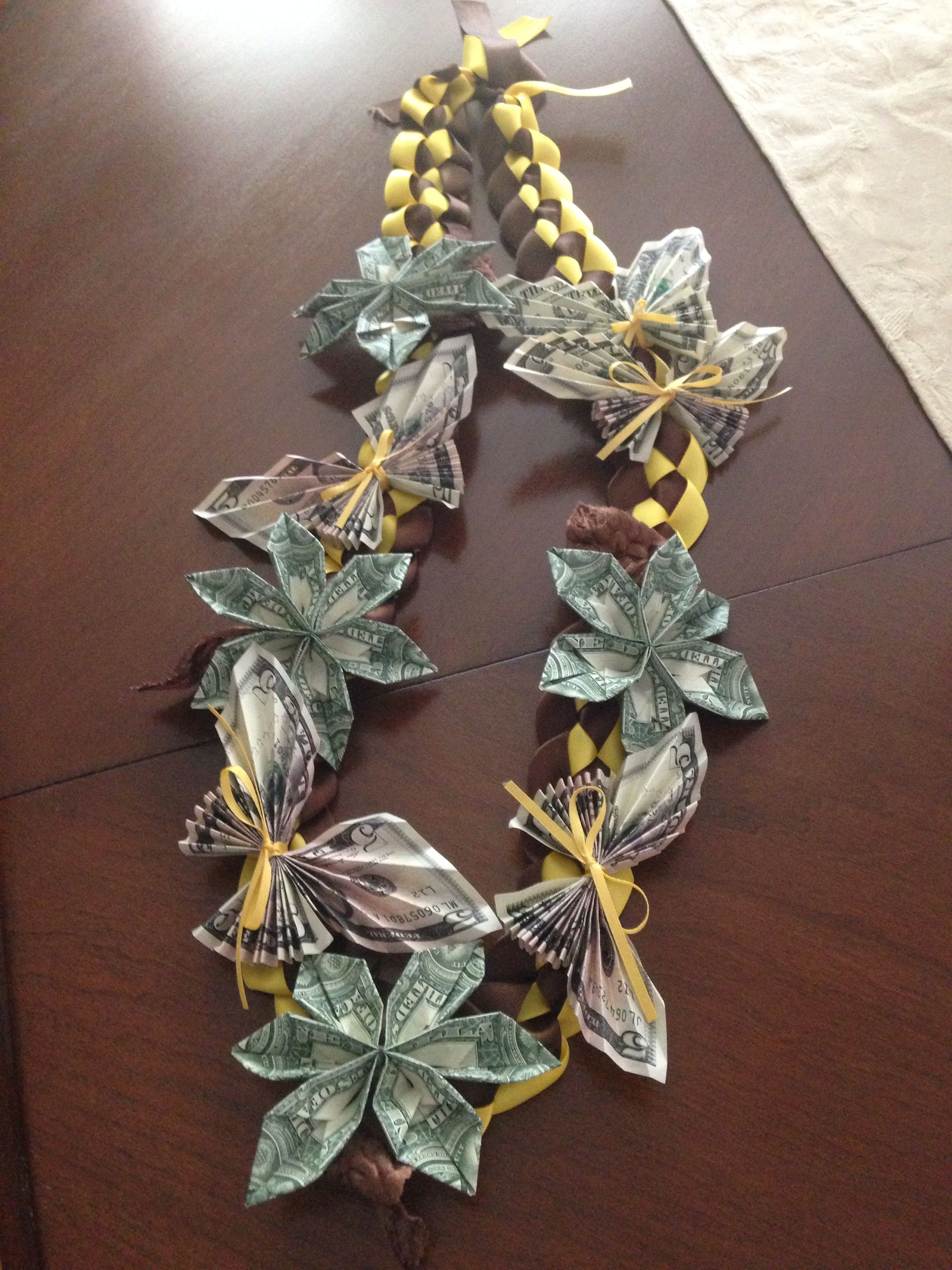 Money Ribbon Graduation Lei With Butterfly S And Plumeria Flowers Plumeria Flowers Graduation Money Lei Money Flowers