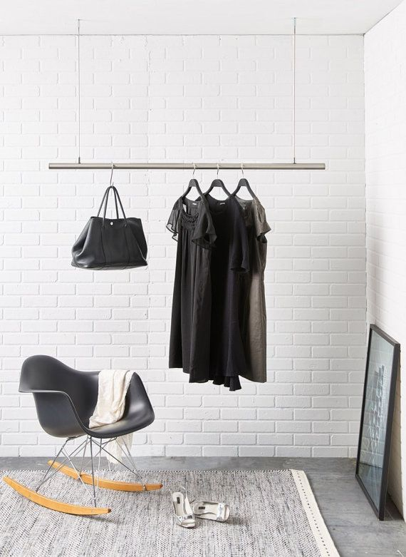 Airjust Hanging Cloth Rack Ceiling Mounted The Clothes Rail Is