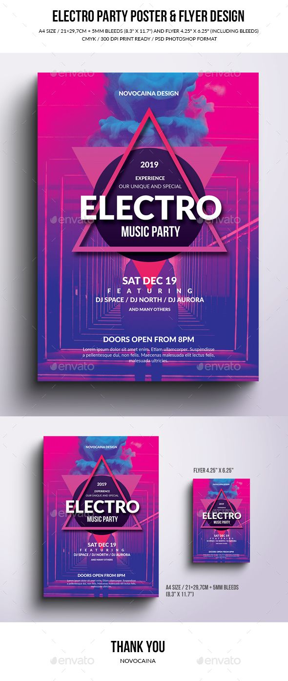 Electro Party Poster & Flyer Design. Customizable template for a party flyer.
