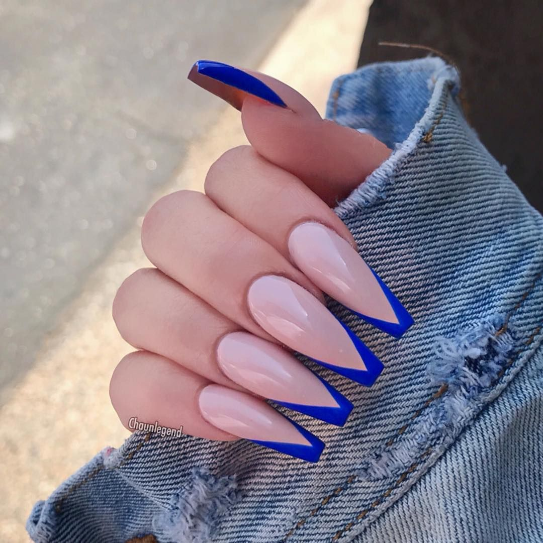 Royal Blue Vtips Cute Acrylic Nails Blue Acrylic Nails Long Nails