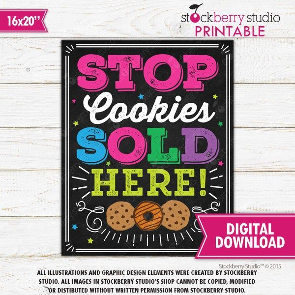 Stop Cookies Sold Here Sign Cookie Booth Sign Printable ...