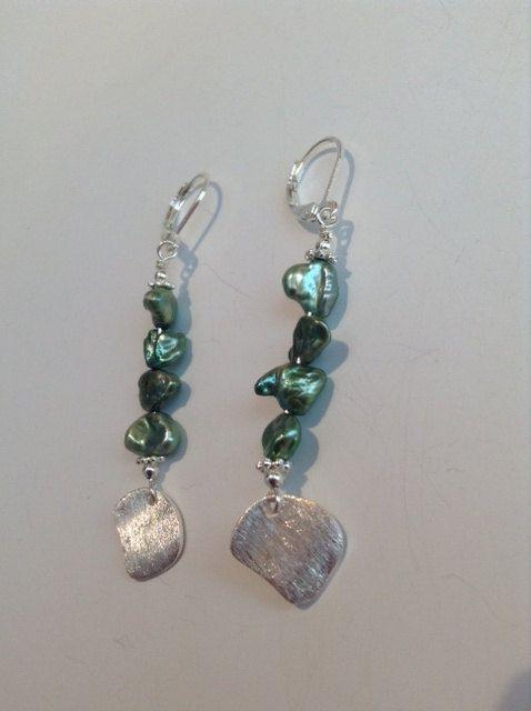 Seaweed earrings Keshi fresh water pearls by ScarletMareStudio, $35.00