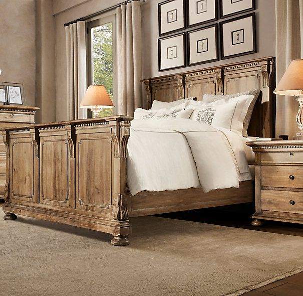 St James Panel Bed With Footboard  Glamourous Bedrooms  Distressed furniture Bedroom Panel bed