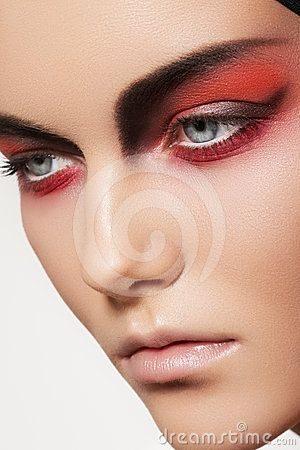 Fashion Model Face With Devil Halloween Make Up By Seprimoris Via