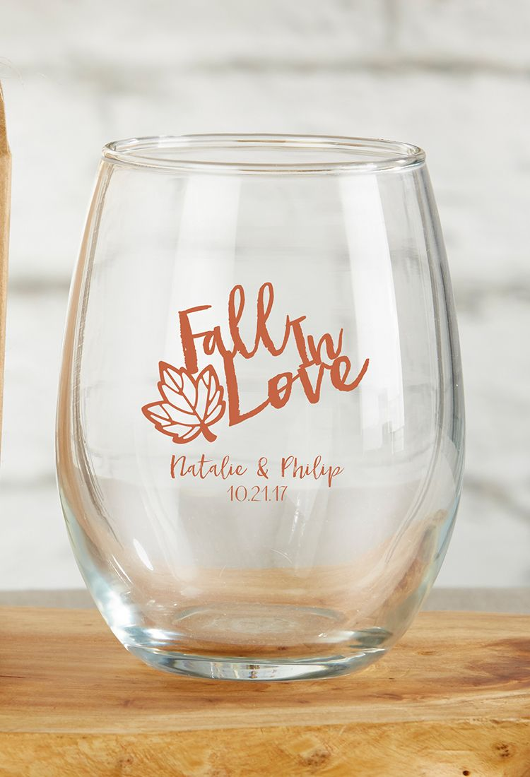 Wedding decorations with wine bottles november 2018 Personalized Fall  oz Stemless Wine Glass  Favors Wine glass