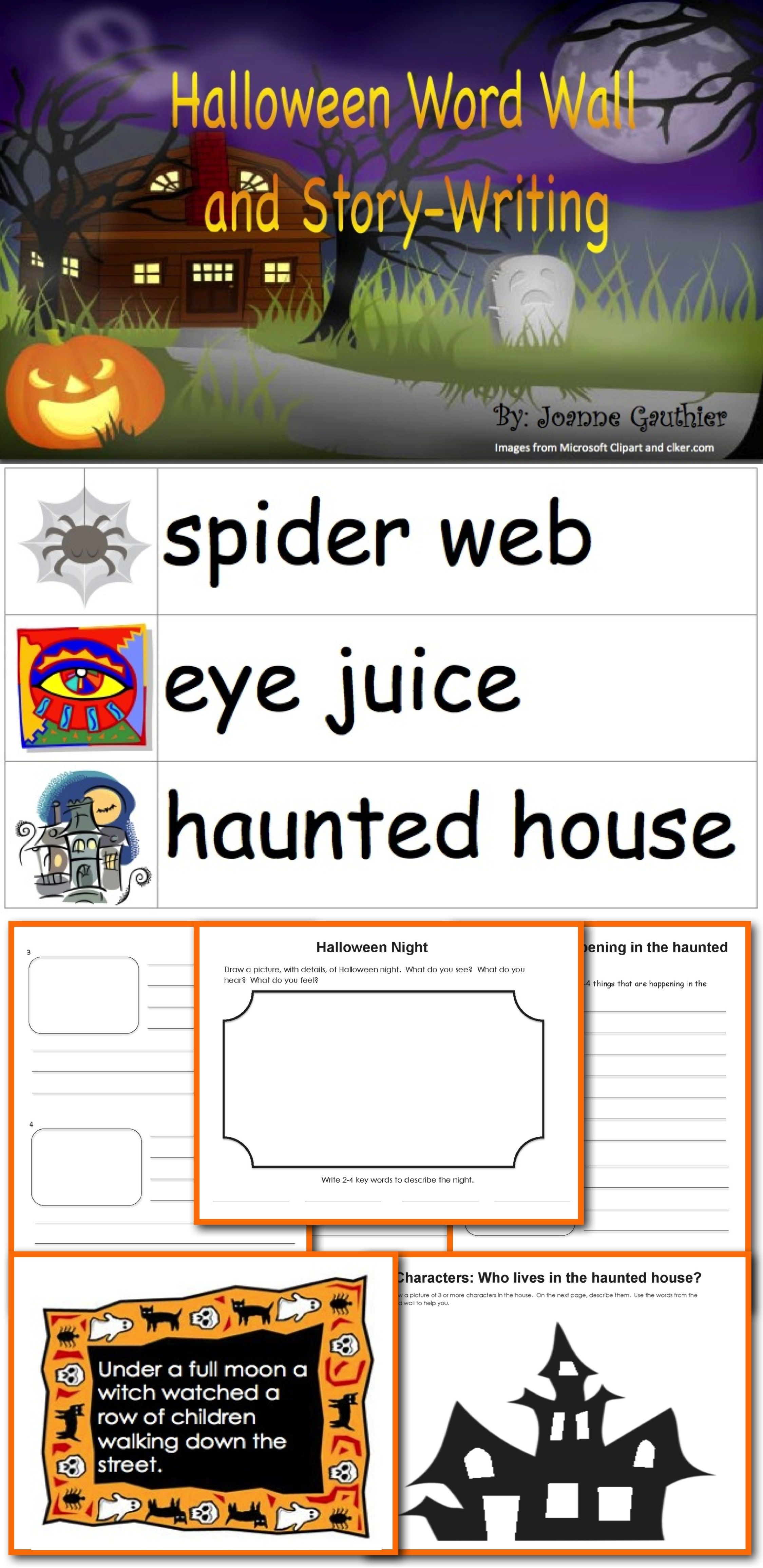 Halloween Word Wall And Story Writing