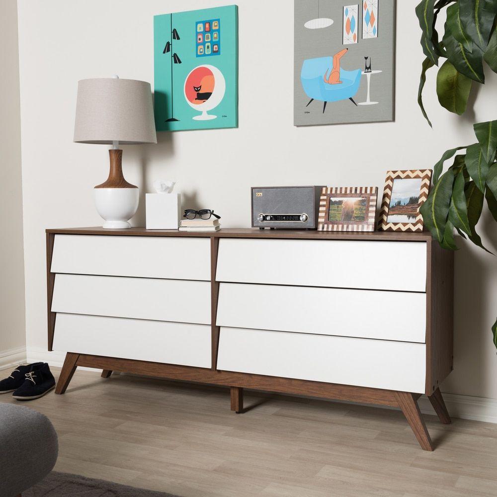 Mid Century White And Brown Dresser By Baxton Studio Baby Girls
