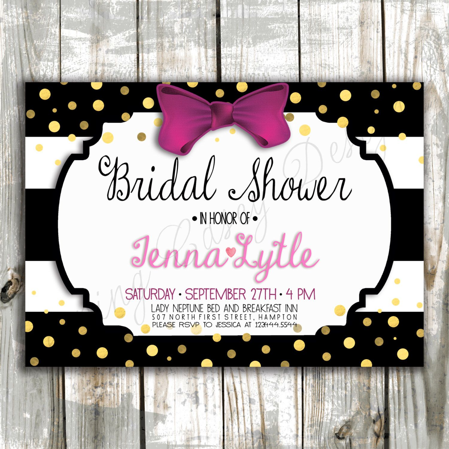 Kate Spade Inspired Bridal Shower Invitation Stripes And Bows