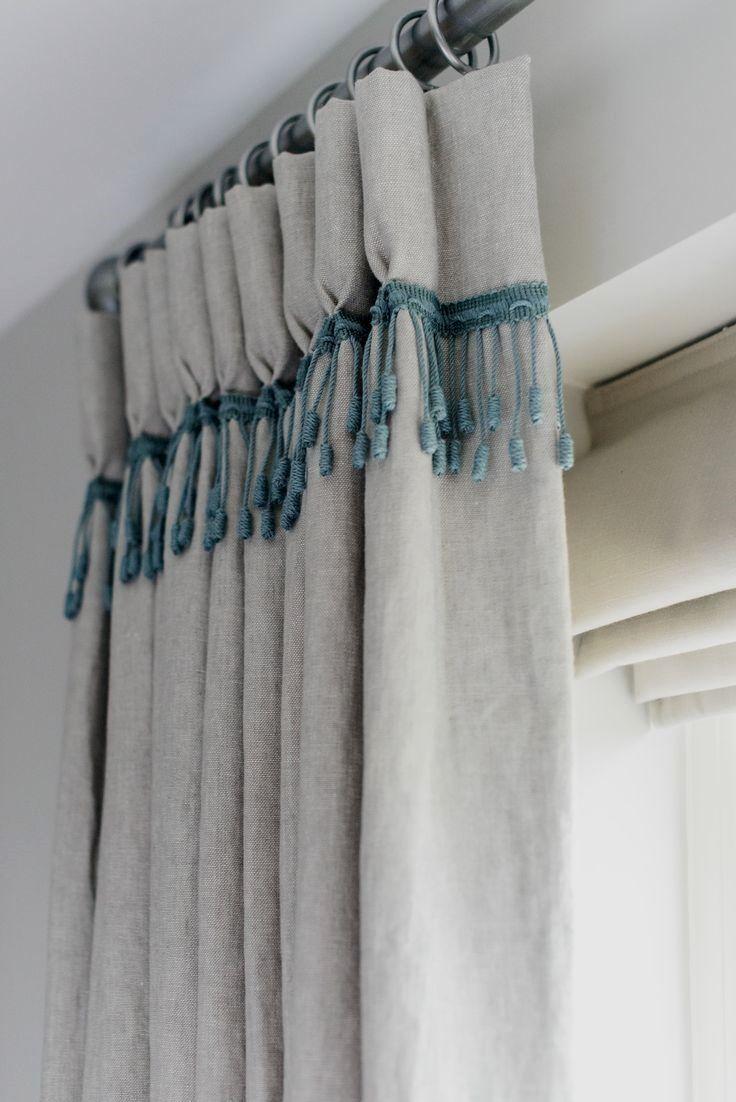 Divinas cortinas en arpillera convinadas con puntilla t