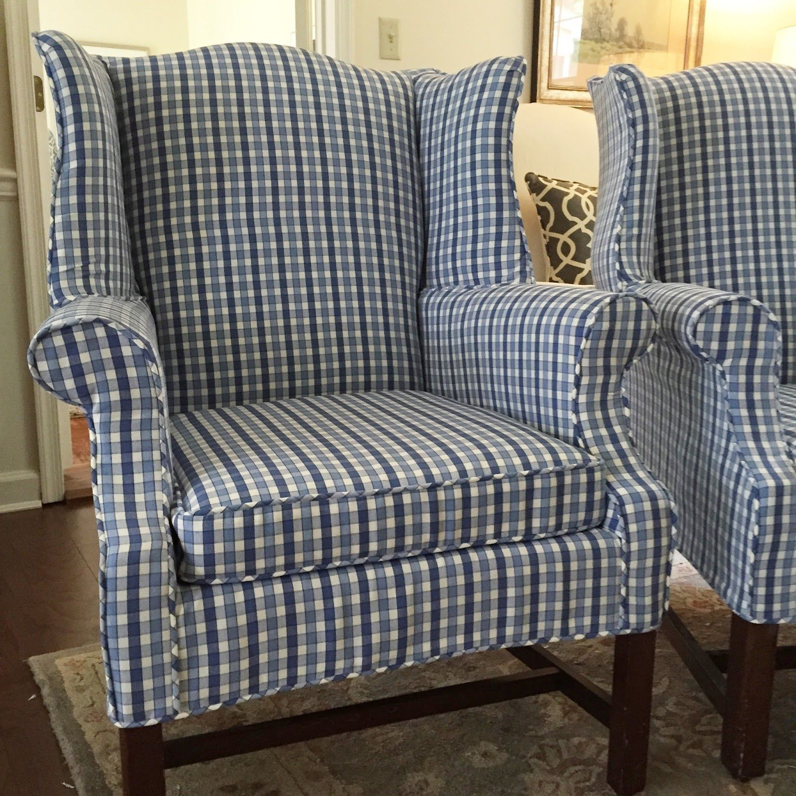 Checked Wing Chairs In Shades Of Blue Slipcovers For Chairs