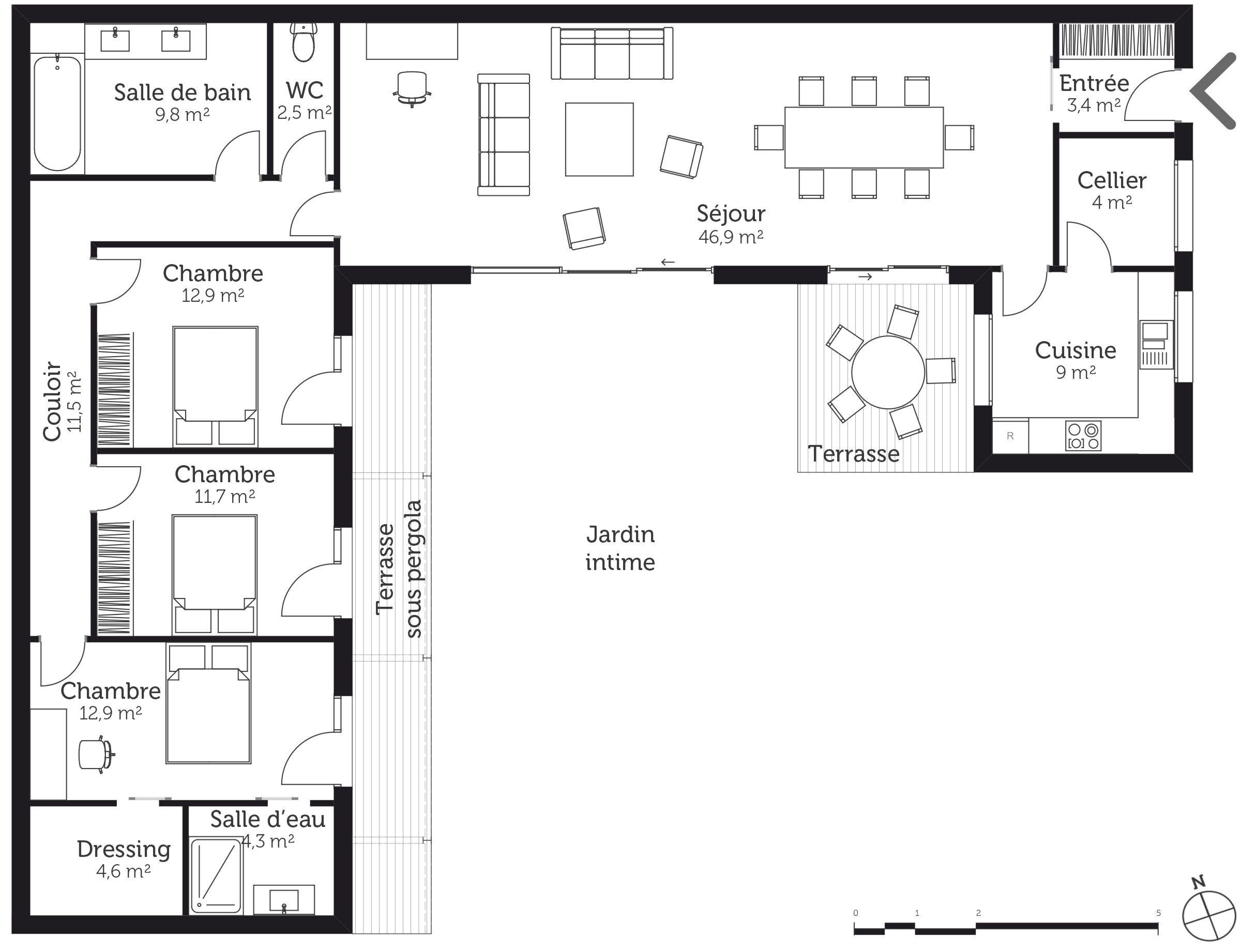 Plan au sol. en 8  Plan maison en u, Plan maison, Maisons en u