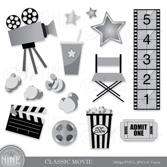 Classic Movie Clip Art Digital Clipart Instant Download Etsy Digital Clip Art Clip Art Photo Album Scrapbooking