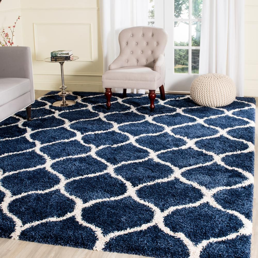 Hudson Navy Ivory Blue 7 Ft X Square Area Rug