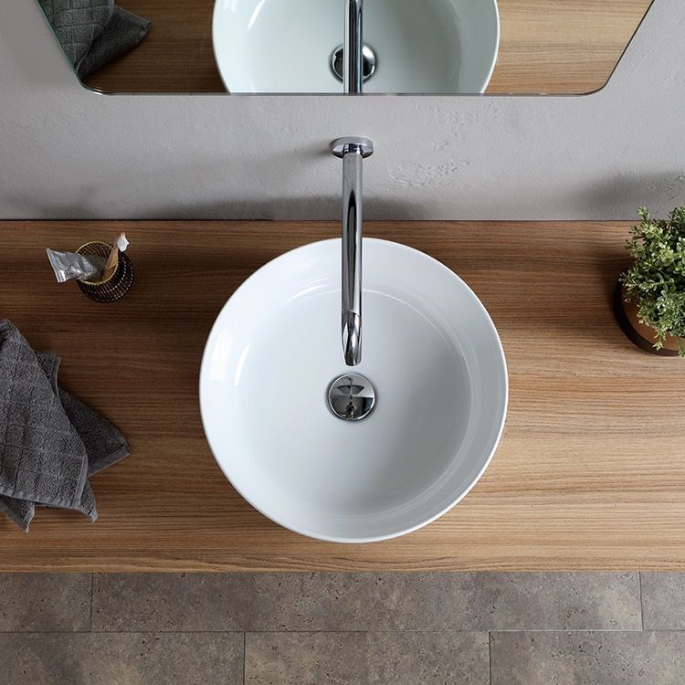 Perfect For The Modern Or Contemporary Bathroom Atmosphere This 15 Inch Round Vessel Sink Is