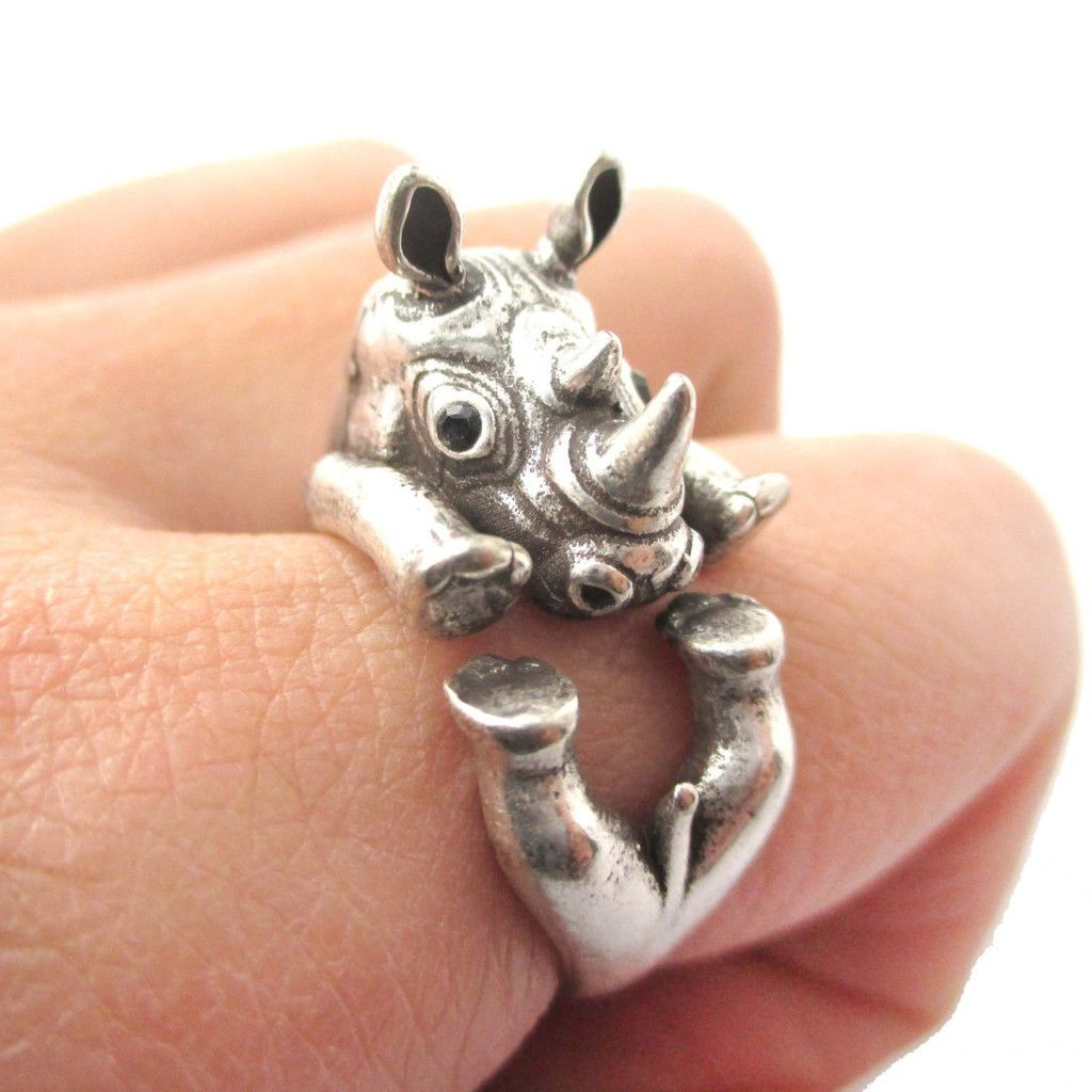 Realistic Rhinoceros Rhino Shaped Animal Ring in Brass | Size 6 to 9