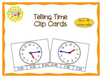These cards are terrific for Math Centers – A Hands-On Activity your kiddos will love!  14 pages; 48 Telling Time clip cards to help your students practice their quarter hour time-telling skills.