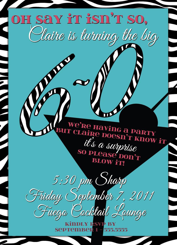 60th Birthday Surprise Party Zebra Print & Martini Ladies ...