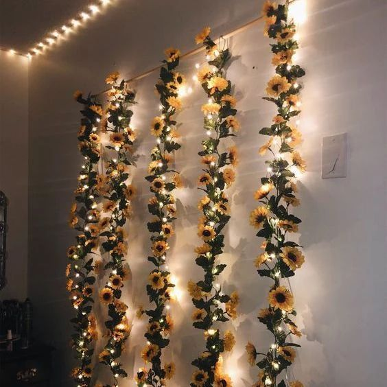 5PCS 2M ARTIFICIAL SUNFLOWER GARLAND FLOWER VINE + LED TRANSPARENT COPPER WIRE BATTERY - Peace & Shine #sunflowerchristmastree