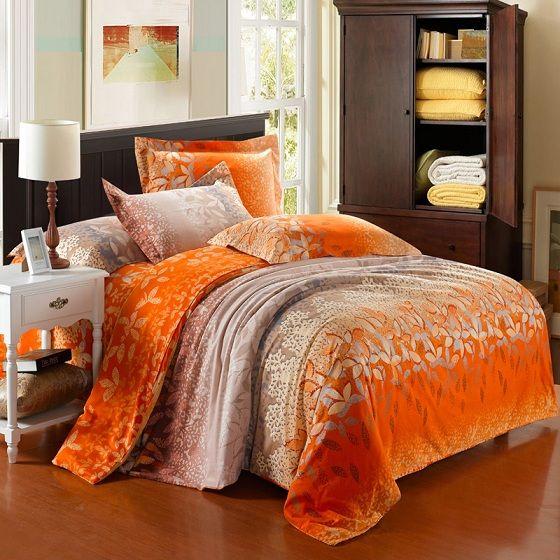 orange bedding luxury orange satin bedding sets