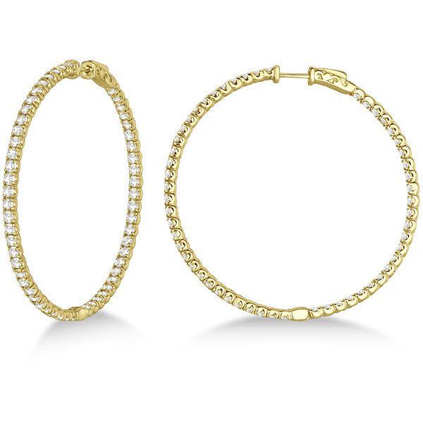 Allurez Stylish Large Round Diamond Hoop Earrings 14k Yellow Gold 32 820 Brl