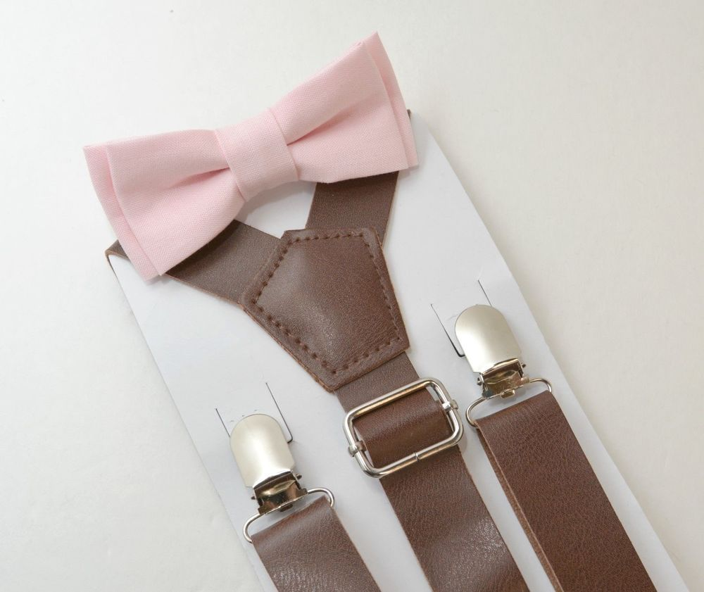 ADULT SET Kids Boys Mens Charcoal Gray Suspenders PALE Blush Pink Bow tie Baby