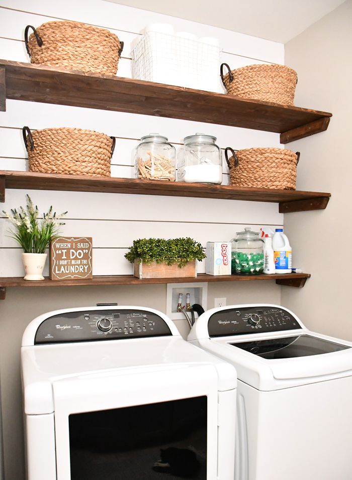 Budget Laundry Room Makeover With Diy Shiplap And Stained Shelves Small Laundry Room Organization Small Laundry Room Makeover Laundry Room Diy