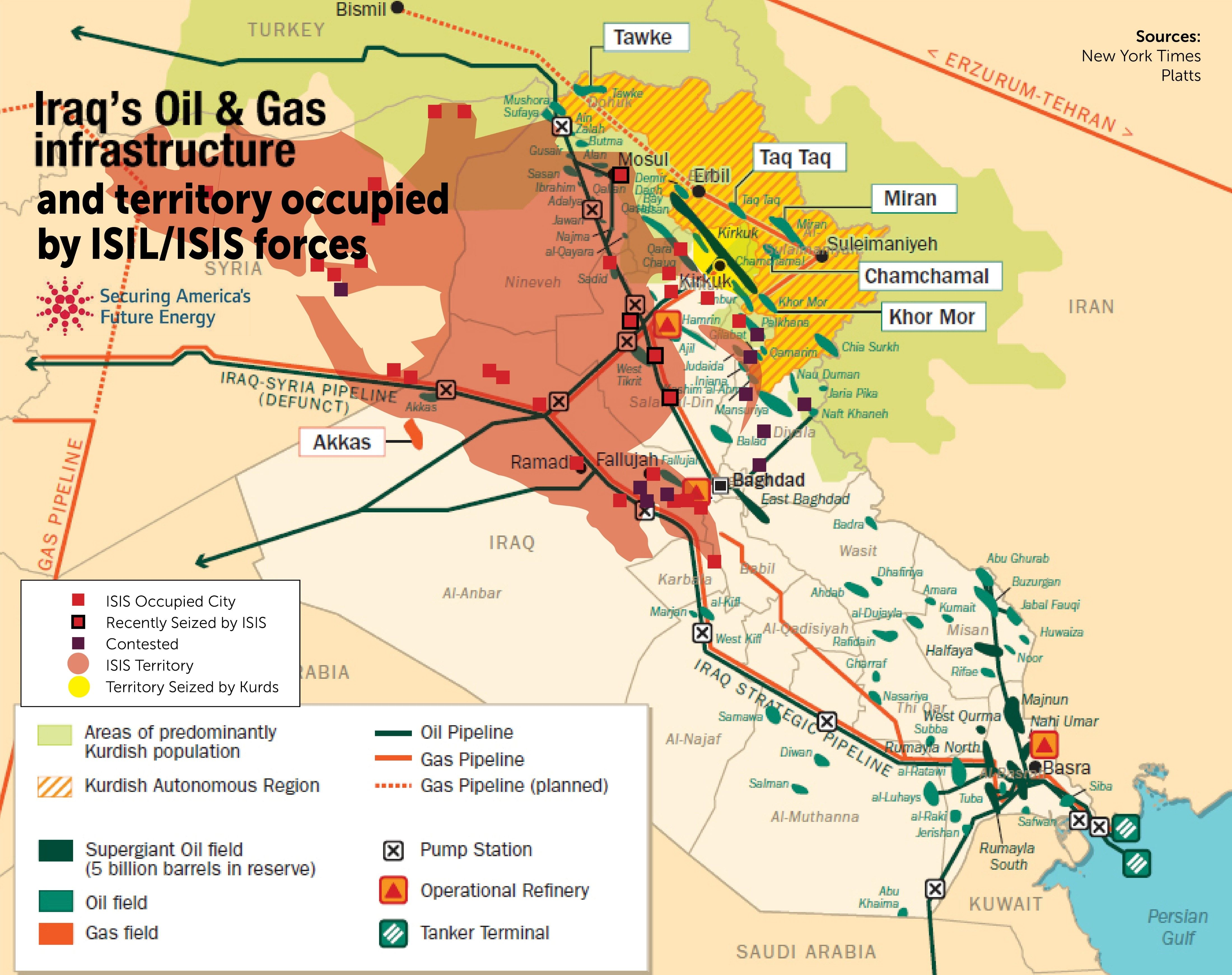 Map of Iraqs OilGas infrastructure and territory occupied by ISIL