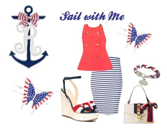 """Sail with Me"" by colorfulandcurvy ❤ liked on Polyvore featuring Brooks Brothers and Gucci"
