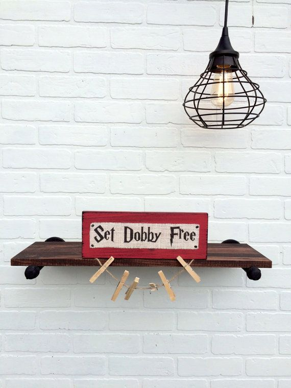 Set Dobby Free Burlap and Wood Sign with by HashtagAdorbs on