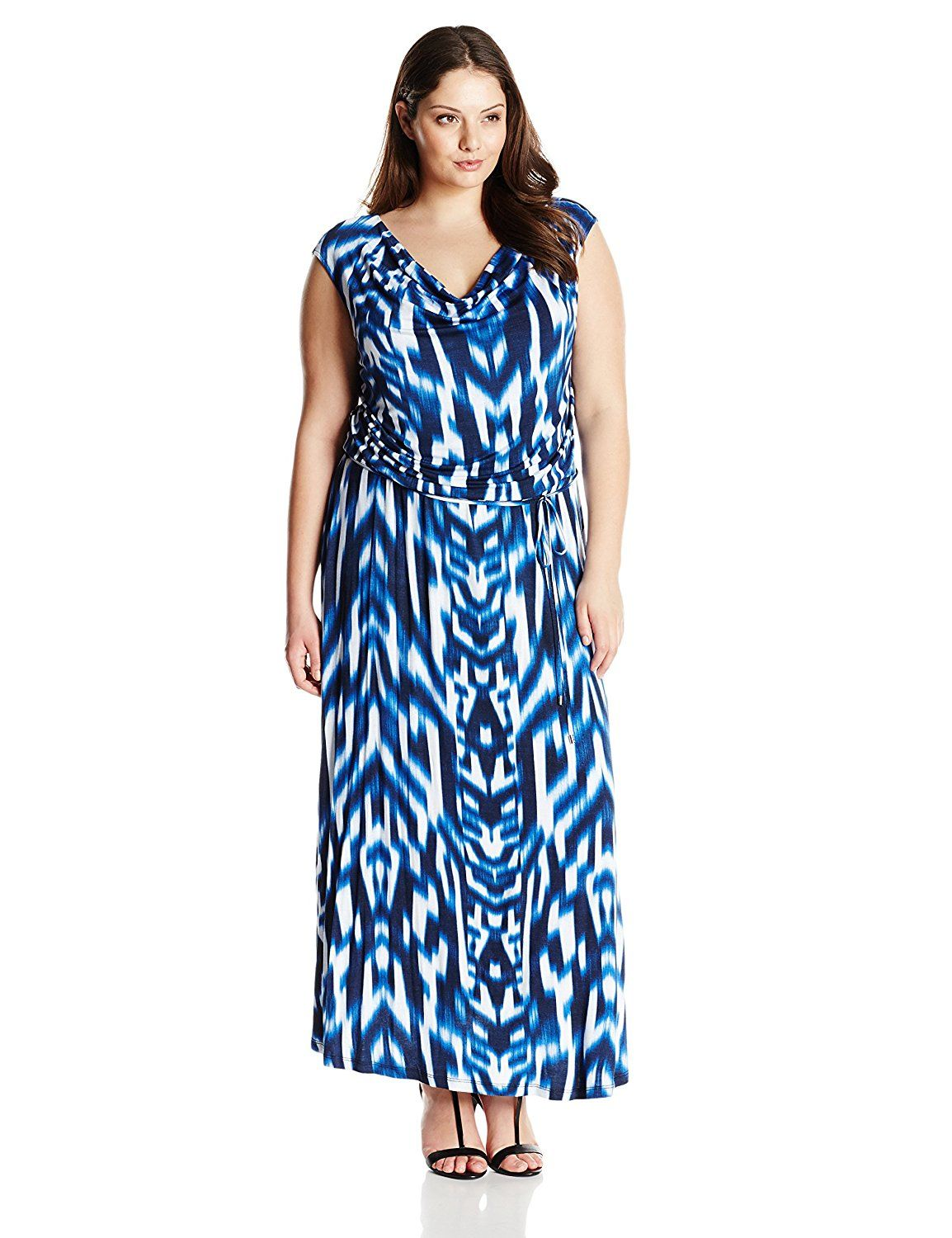 Calvin Klein Women S Plus Size Printed Cowl Neck Maxi Dress