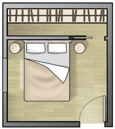 schma dessin plan chambre parental avec dressing