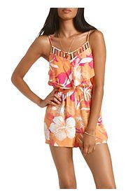 7c987a6b6537 Floral Print Caged Flounce Romper