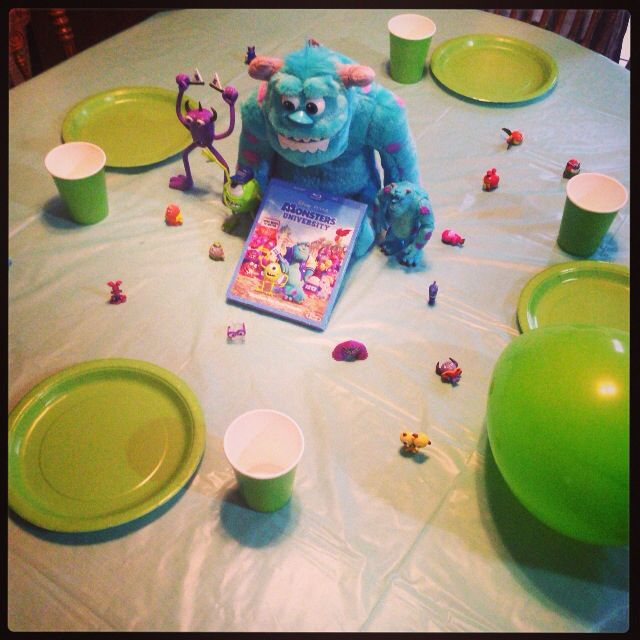 Disney Movie Night- Monsters University Movie and dinner theme night.  Menu: Boo's burger Mikes Munchy French Fries Sulley's Salad  For desert we iced and decorated door shaped sugar cookies! Facebook.com/madicustwistcreations JessicaCantrell.myitworks.com