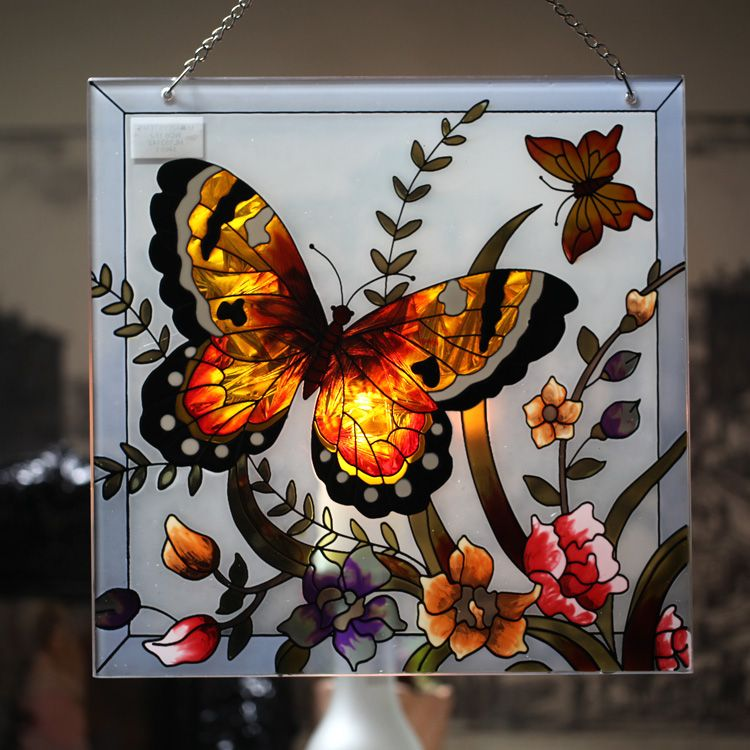 Country Style Butterfly And Flower Painted Stained Glass Wall Ornaments As  Home Decorations
