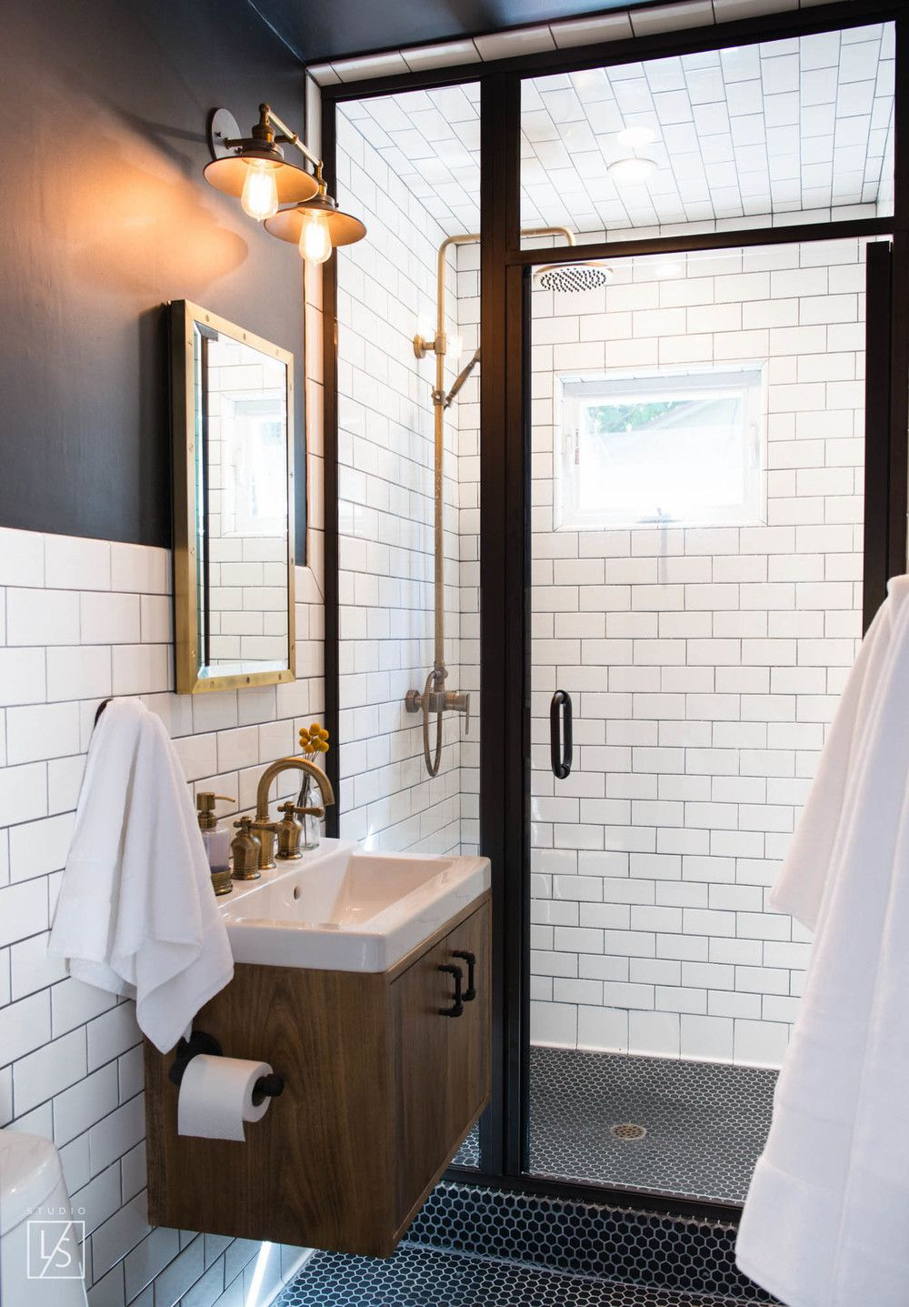 Small bath with a shower stall   Bath, Sinks and White tiles