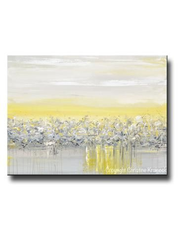 GICLEE PRINT Art Yellow Grey Abstract Painting Poppy Flowers Coastal ...