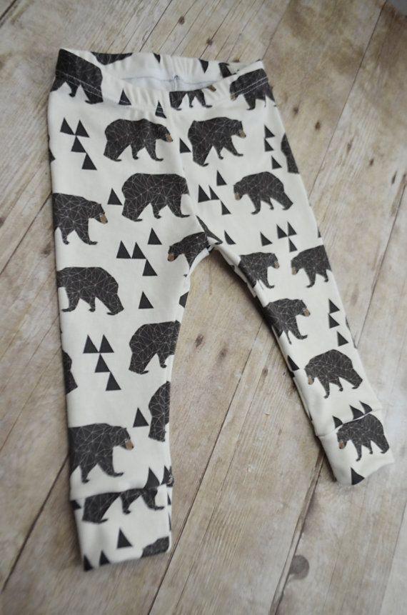 baby leggings toddler leggings bear prints von LittleBeansBabyShop ...
