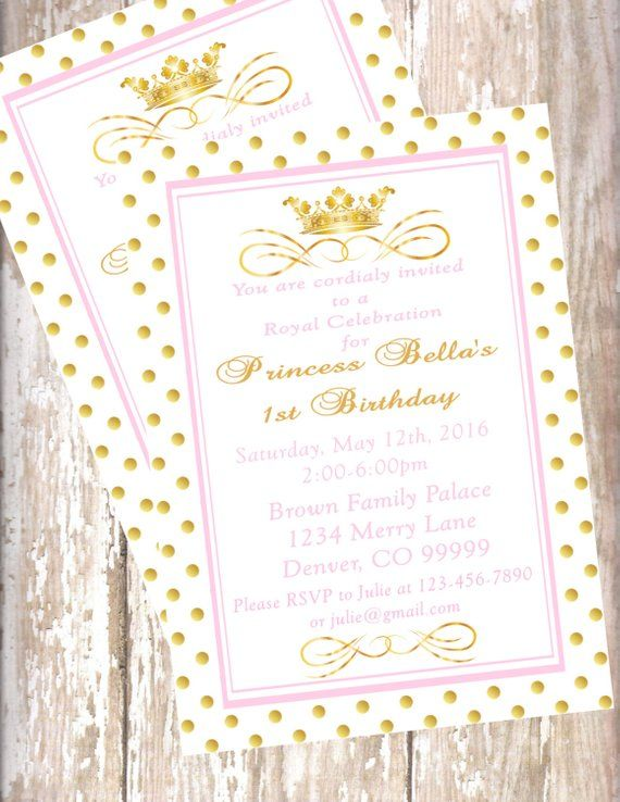 Pink And Gold Princess Personalized 1st Birthday Party Package Banner Princes