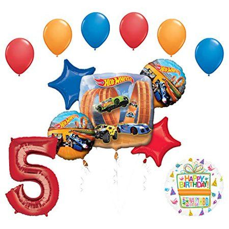 Mayflower Products Hot Wheels Party Supplies 5th Birthday Balloon Bouquet Decorations - Walmart.com