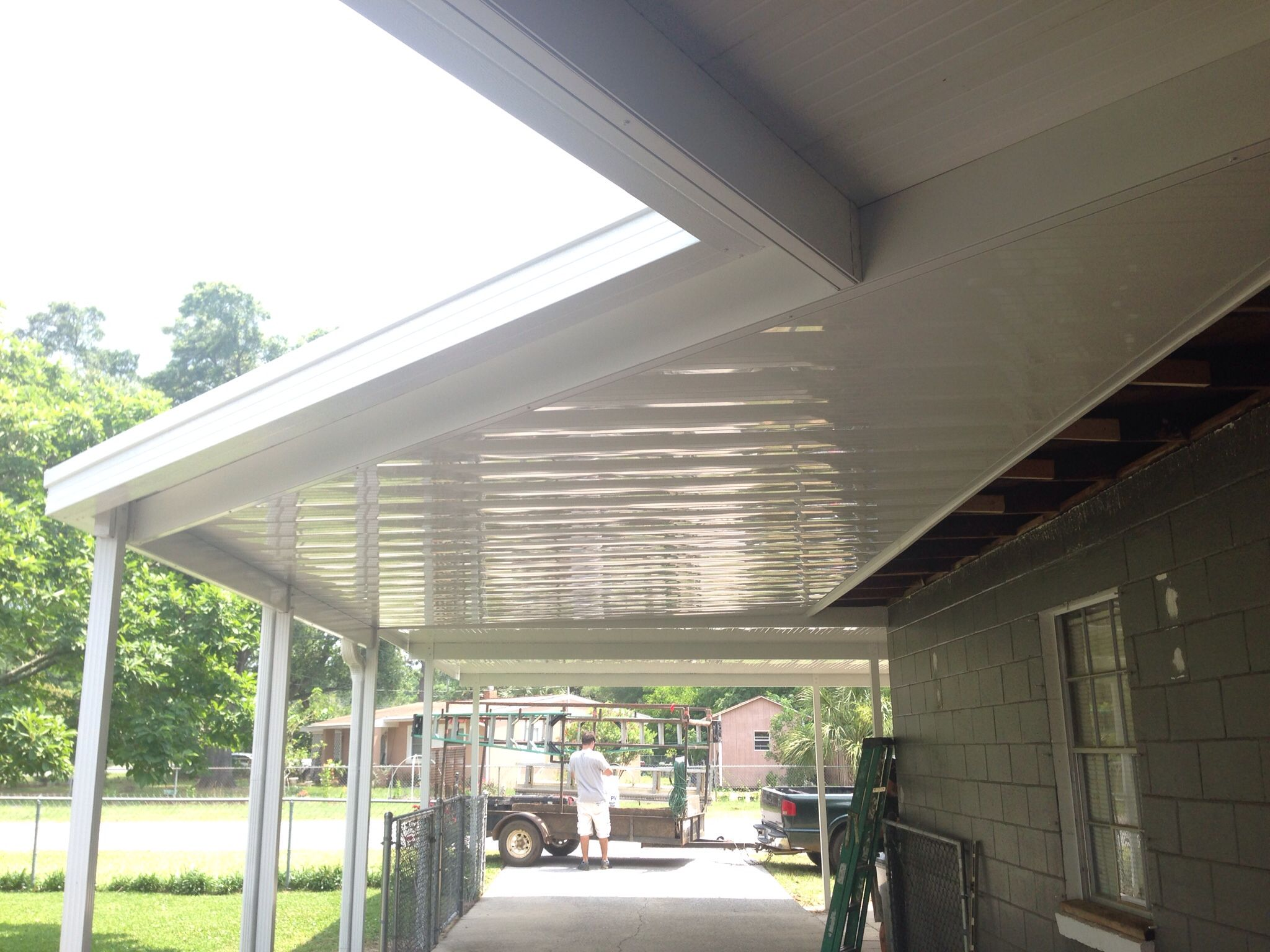 15 X 28 Patio Cover With Rain Gutters Heavy Duty 6 Beams And 4 Posts Set Into Concrete And An Addition Backyard Design Aluminum Patio Covers Covered Patio