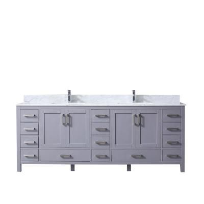 Lexora Jacques 84 In Double Bath Vanity In Dark Grey With White