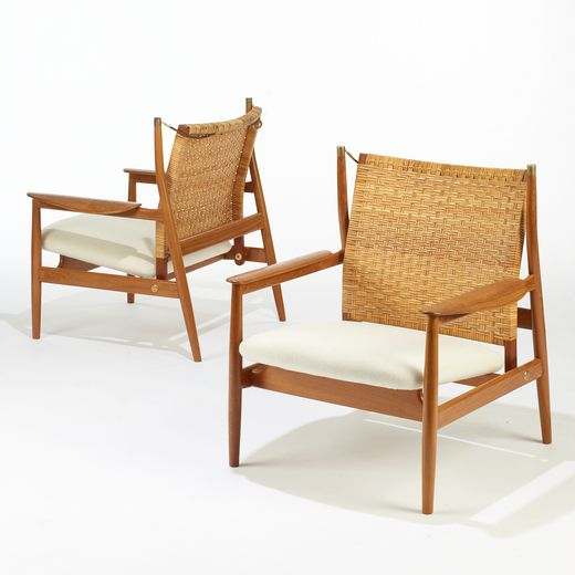 115: Finn Juhl / armchairs with adjustable backs, pair < Important Design, 9 December 2008 < Auctions   Wright