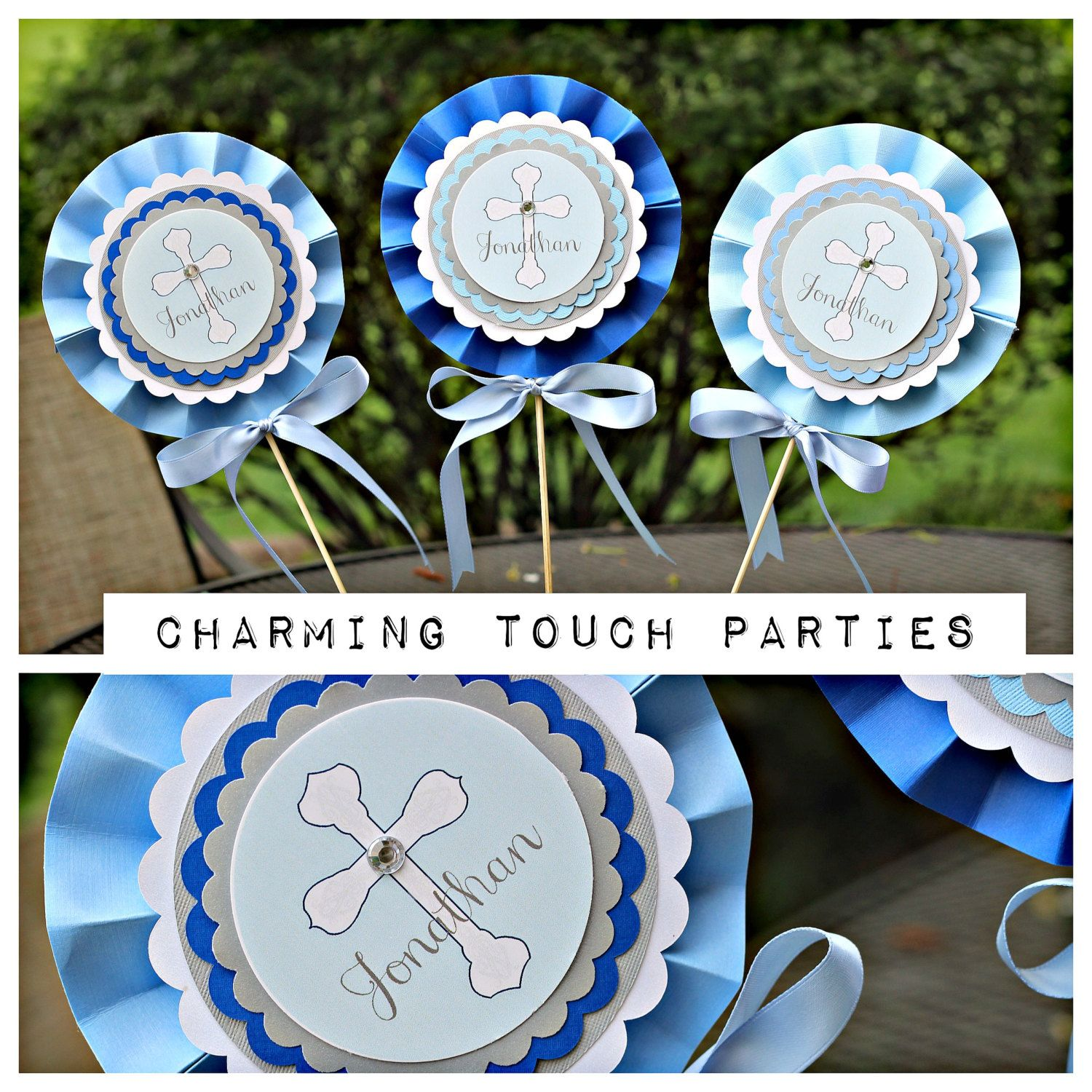 First Communion / Baptism / Christening rosette centerpieces by Charming Touch Parties.  Shades of blue, grey and ivory shimmer.  Pack of 3. by CharmingTouchParties on Etsy