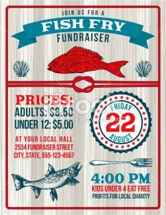 Fish Fry Fundraiser Template With A Nautical Theme. There Are Fish.