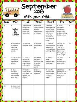 Parental Involvement Homework Calendar  September PkK  School