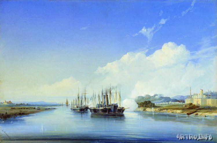 """Обстрел пароходом """"Прут"""" турецкой крепости Силистрия на Дунае 1854 года."""