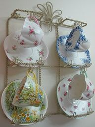 ~ tea cups & saucers displayed ~ Need this stand times oh about 10!