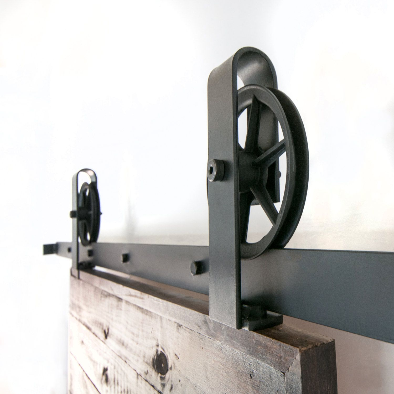 Vintage Industrial Spoked European Top Mount Sliding Barn Door